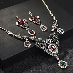 Turkish Flower Necklace Earring Sets Red Pendants Chains Resin Choker Vintage Women Wedding indian African Beads Jewelry Set