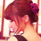 Korean 1 X Elegant Flower Hair Claws Korean Beauty Ribbon Rose Hair Clip Barrette For Women Headwear Hair Accessories Hairclips