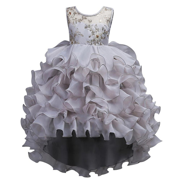 Pretty Hi-Low O-Neck Ball Gown Flower Girl Dress (Sizes 1-14 Years) - little-darling-fashion-online