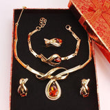African Beads Fine Jewelry Set  Gold Color Champagne Clear Austrian Crystal Women Wedding Necklace Bracelet Earring Ring