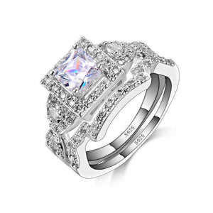 High Quality Fashion Classic 925 Sterling Silver Wedding Ring Sets For Women Square CZ Crystal  Bridal Engagement Ring