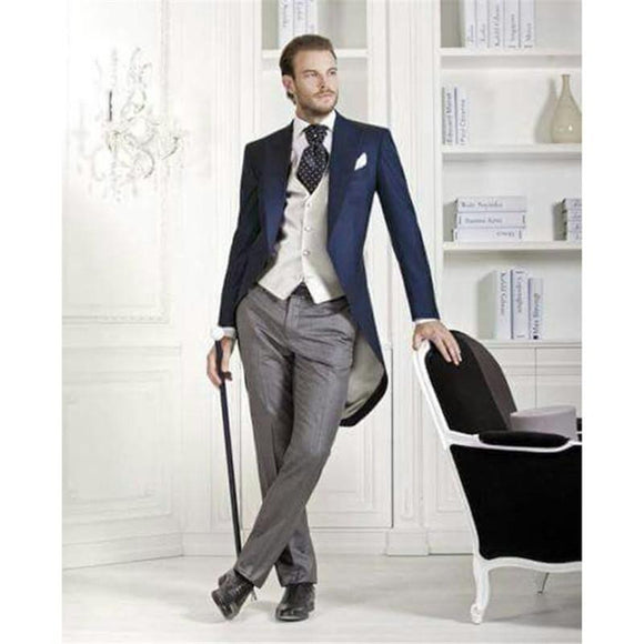 Custom made Italian dark blue Morning suit Wedding Suits terno slim fit man's 3 Peices Mens Suits (Jacket+Pants+vest)