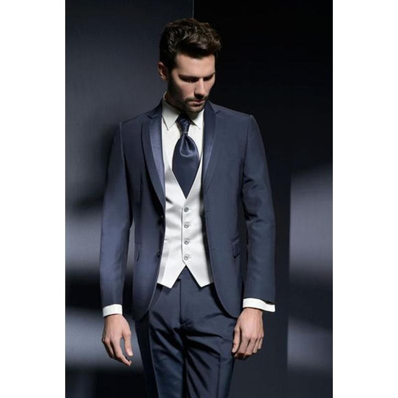 Navy Blue Men's Slim Fit 3 Piece Classic Suit by PickAProduct
