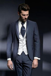 Navy Blue Men's Slim Fit 3 Piece Classic Suit (Jacket+Pant+Vest) XXS-6XL