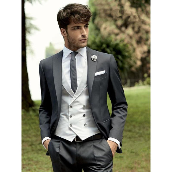Men's Slim Fit Suit 3 Piece (Jacket+Pant+Vest) - little-darling-fashion-online
