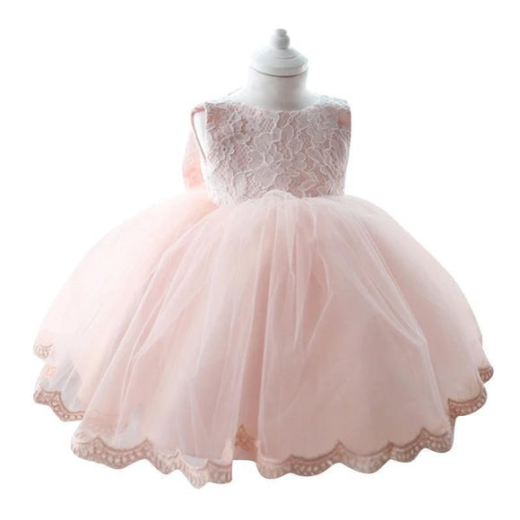 Ball Gown Lace Flower Girl Dress with Big Bow (1-5 Years) - little-darling-fashion-online