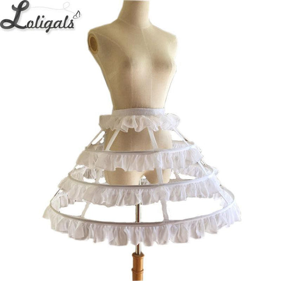 Short 3 Hoop Petticoat White/Black Crinoline Petticoat Underskirt for Woman
