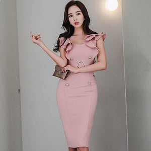 2018 Summer Ruffles Sleeve Double Breasted Pink Cloth Pencil Sexy Sheath Bodycon Knee-Length Party Dress