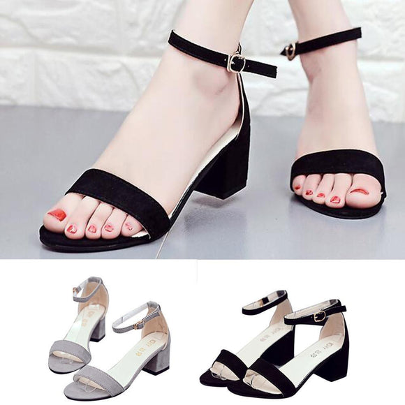 Women Single Band Chunky Heel Sandal With Ankle Strap Summer Sandals Shoes - little-darling-fashion-online