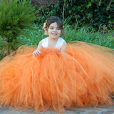 Orange Tutu Flower Girl Dress with Lace Straps (3M-12 Years)
