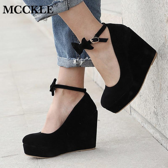 MCCKLE Women High Heels Shoes Plus Size Platform Wedges Female Pumps Elegant Flock Buckle Bowtie Ankle Strap Party Wedding Shoe