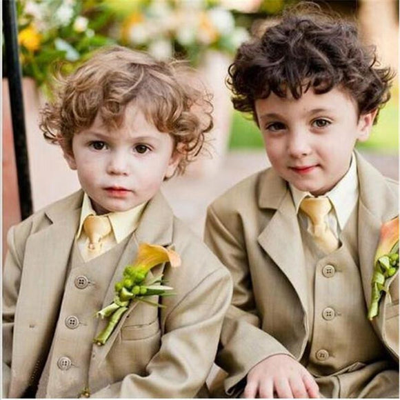 Notch Lapel Khaki Children Suits Fashion Tuxedos - little-darling-fashion-online