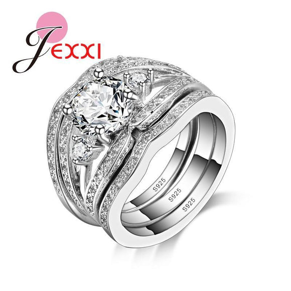 JEXXI Luxury Rings Set With 3 PCS Beautiful Rings For Females With 925 Sterling Silver And Fine White Cubic Zirconia Crystal