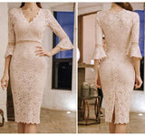 Summer Full Lace Women's V-Neck Party Dress (S-XL) - little-darling-fashion-online