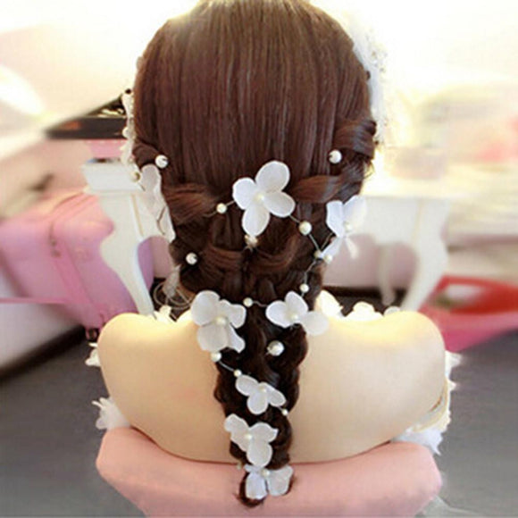 5pcs Wedding Flower Hair Vine Bridal Headband Long Hair Accessories for Bridesmaid Flowergirls Bridal (White) - little-darling-fashion-online