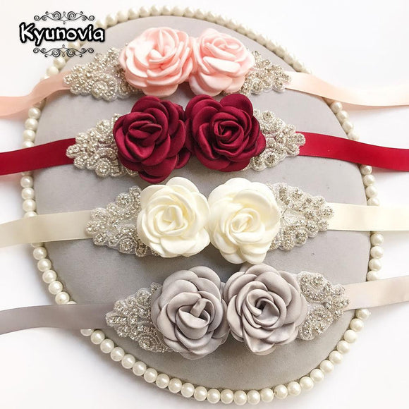 Kyunovia Pink White Flower Belts For Women Girl Flower Style Bridal Prom Dress Accessories Bridesmaid Sash Floral Belt D09 - little-darling-fashion-online