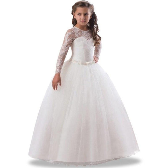Flower Girl's Birthday Banquet Long Sleeve Lace Stitching Dress Elegant Girl's Wedding Long White Butterfly Lace Loop Dress - little-darling-fashion-online