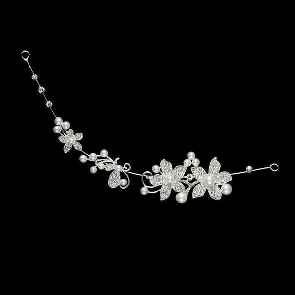 Crystal Rhinestone Faux Pearl Flower Party Bridal Headband Hair Band Tiara