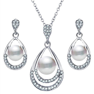 Women Elegant Shiny Glass Water Drop Shape Pendant Earrings Necklace