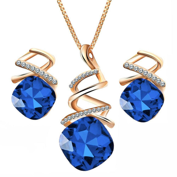 Women Graceful Shiny Glass Decoration Spiral Shape Pendant Earrings