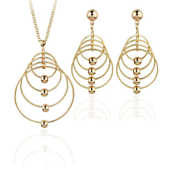 Lady Rock Exaggerated Circles Pendant Earrings Necklace Jewelry Set