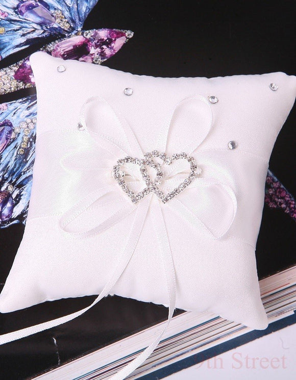 Beautiful Double Heart Ring Bearer Pillow Cushions Wedding Party Crystal Rhinestone