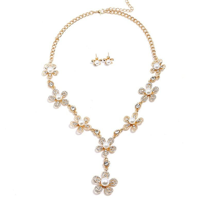 High Quality New Design Crystal Flower Necklace Earrings Women