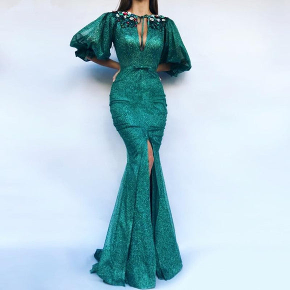 Mermaid Half Sleeves Sequins Beaded Evening Gown - little-darling-fashion-online