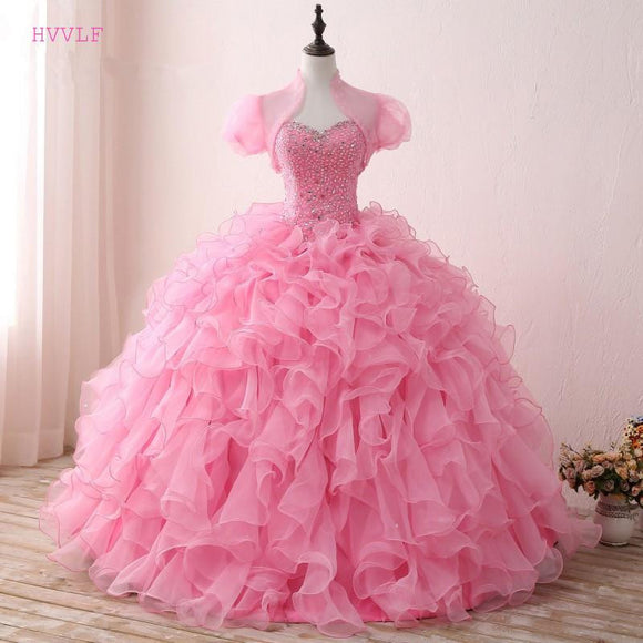 Pink Puffy 2019 Cheap Quinceanera Dresses