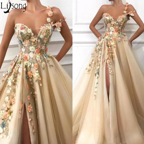 2019 Gorgeous Champagne One Shoulder Prom Dresses