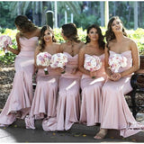 Pink Mermaid Floor Length Bridesmaid Dresses