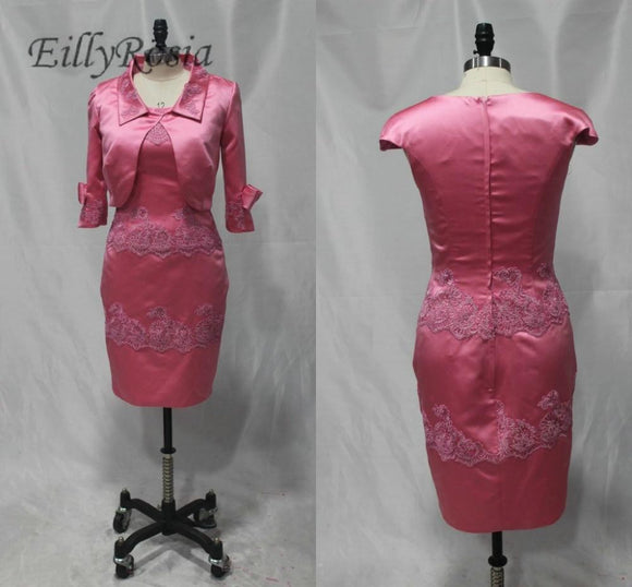 Hot Pink Short Mother of the Bride Dresses with Jacket - little-darling-fashion-online