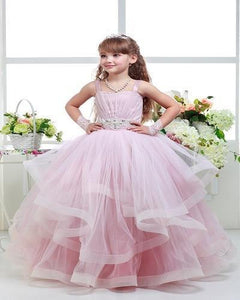 Luxurious Pink Beaded Flower Girl Dresses