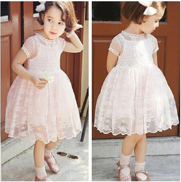 Lovely Pink Lace A-Line Flower Girl Dresses