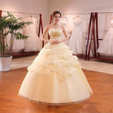 Shanghai Story Scalloped Neckline Ruffle Oace Up Embroidery Wedding Dress - little-darling-fashion-online