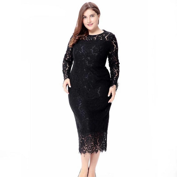 Women Black White Red Plus Size Lace Dress - little-darling-fashion-online