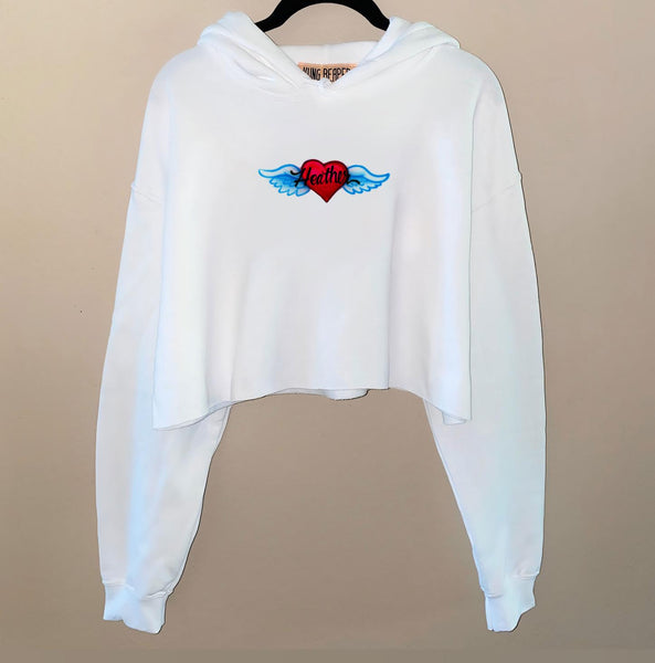 Airbrush Angel Heart Name Crop Hoodie