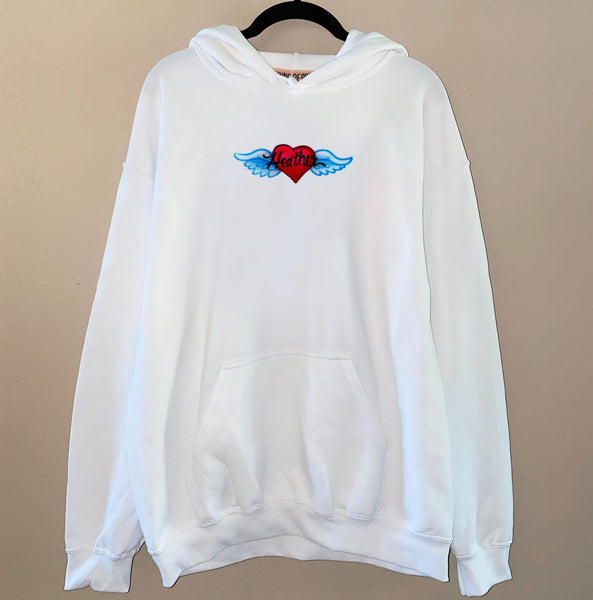 Airbrush Angel Heart Name Hoodie
