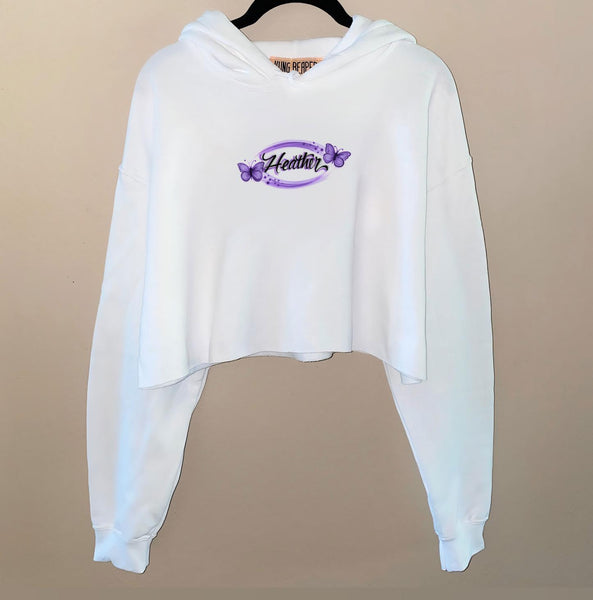 Airbrush Butterfly Name Crop Hoodie