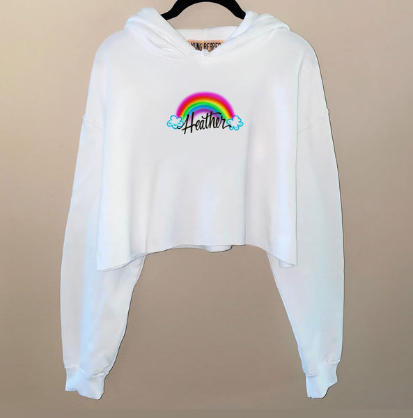 Airbrush Rainbow Name Crop Hoodie