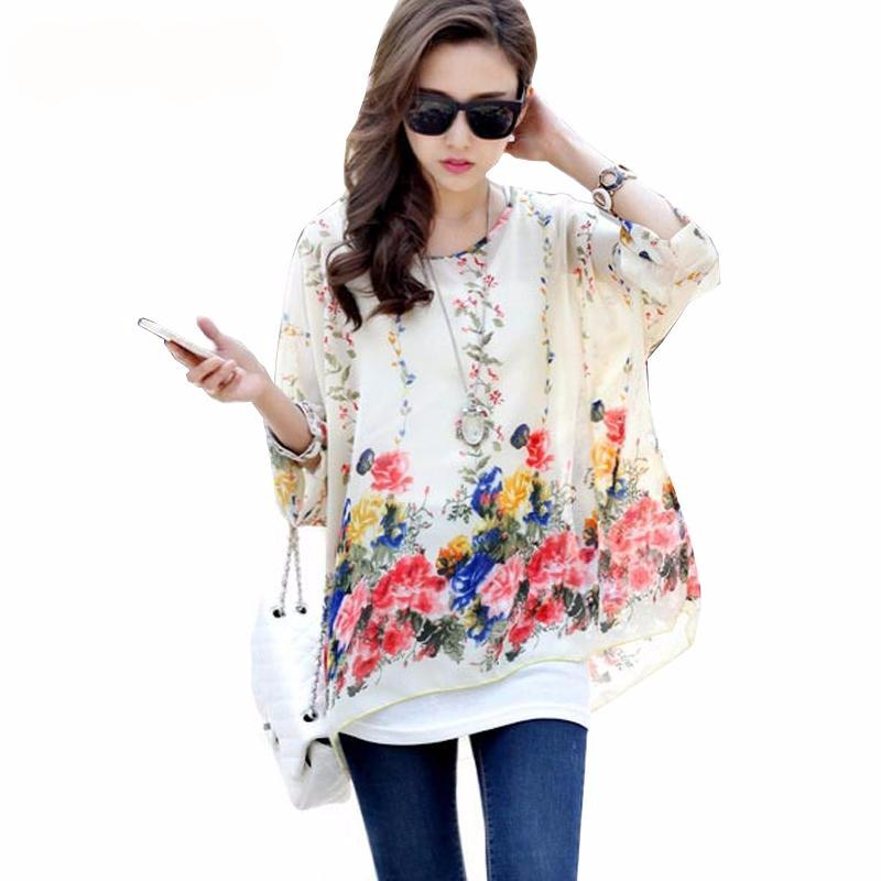 Blouse Shirt Women 2017 New Fashion Floral Print Summer Style Chiffon  Blouses and Tops Women s Clothing Plus Size 96f88c12dbff