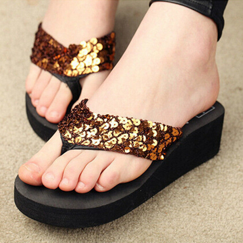 Women Flip Flops female Sandals Summer Sequins Beach Slippers Women Sandals  Cross Flat Shoes Women Flip Flops 7be8ec73a73b