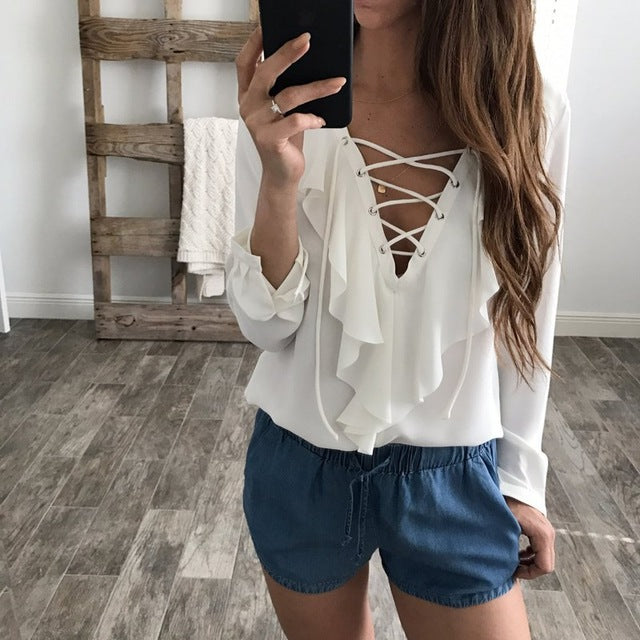 9efd0733eb0 2017 Fashion Spring Women Chiffon Blouse Sexy Lace Up V Neck Ruffles Long  Sleeve Black White Tops Casual Plus Size
