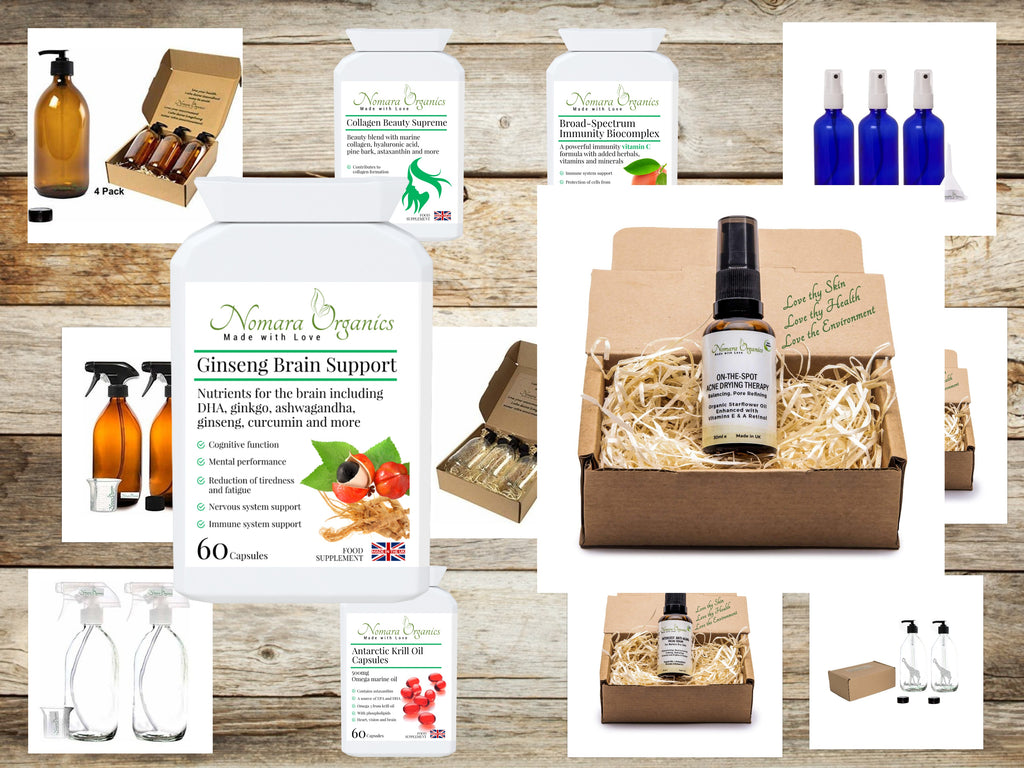 A collage of Nomara Organics products