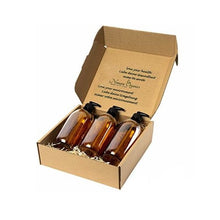 Load image into Gallery viewer, 3pc Amber Glass Soap & Lotion Dispensers - 300ml by Nomara Organics. Nestled on straw in a box, BPA-free Lockable pumps, caps/lids. Eco-friendly, Re-usable, ideal for a Gift, Bathroom, Kitchen, Washing up, DIY, Essential oil blends, Aromatherapy.