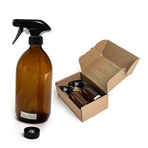 Nomara Organics® Amber Glass Spray Bottles 2 x 500ml boxed on Straw. BPA-free pump & Caps, Ecofriendly, Re-usable, perfect for a Gift, Baththroom, Kitchen, Organic Hair, Cleaning, Plant & Pet care products