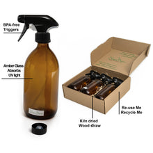 Load image into Gallery viewer, Nomara Organics® Amber Glass Spray Bottles 3 x 500ml large. Boxed on Straw, Pumps & 3 caps. Eco-friendly, Re-usable for Gift-Kitchen-Bathroom-Cleaning