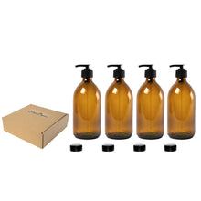 Load image into Gallery viewer, Countertop Amber Glass Soap Dispensers, 4 x 300ml by Nomara Organics®.  Lockable Pumps/Caps, BPA-free, Eco-friendly, Reusable for Gift-Bathroom- Organic Lotion-Handwash-Oils & Serums-Aromatherapy-Facewash-Travel