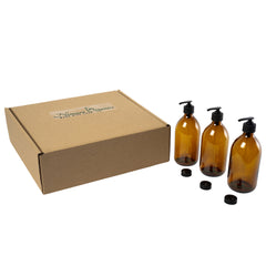 3pc Amber Glass Soap & Lotion Dispensers - 300ml by Nomara Organics. Nestled on straw in a box, BPA-free Lockable pumps, caps/lids. Eco-friendly, Re-usable, ideal for a Gift, Bathroom, Kitchen, Washing up, DIY, Essential oil blends, Aromatherapy.
