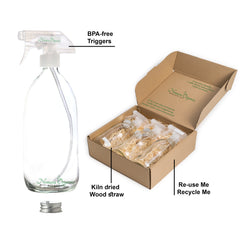 Premium Clear Glass Spray Bottles 3 x 500ml by Nomara Organics®. Boxed, on Straw, BPA-free trigger pumps, Caps, Beaker. Multipurpose, Re-usable & ideal for a Gift, Kitchen, Cleaning, Bathroom